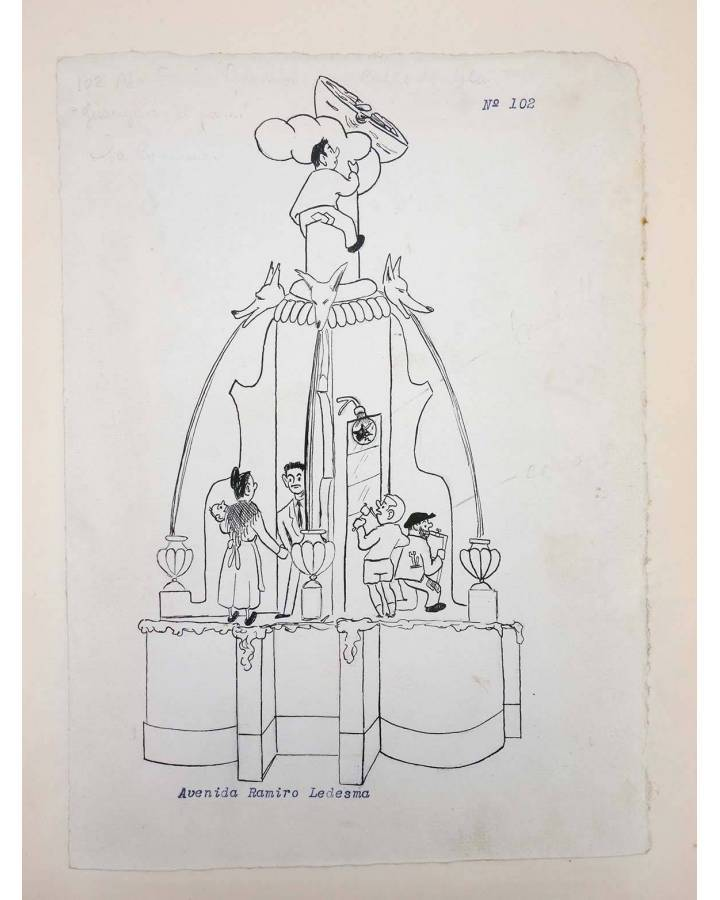 Cubierta de DIBUJO ORIGINAL 34X22 CM FALLAS VALENCIA 1954 102. AVENIDA RAMIRO LEDESMA (No Acreditado) Valencia 1954