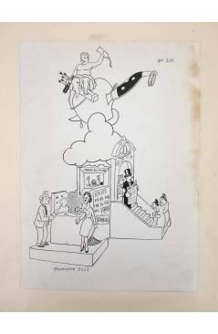 Cubierta de DIBUJO ORIGINAL 34X22 CM FALLAS VALENCIA 1954 104. ENSENDRA – COLL (No Acreditado) Valencia 1954