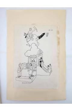 Contracubierta de DIBUJO ORIGINAL 34X22 CM FALLAS VALENCIA 1954 104. ENSENDRA – COLL (No Acreditado) Valencia 1954