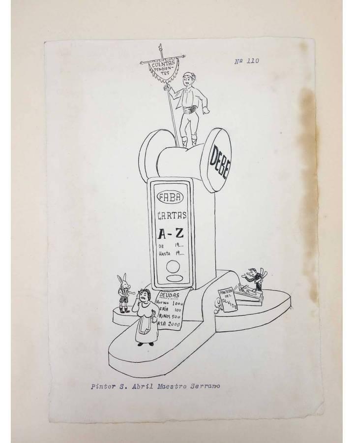Cubierta de DIBUJO ORIGINAL 34X22 CM FALLAS VALENCIA 1954 110. PINTOR S. ABRIL – MAESTRO SERRANO (No Acreditado) Valenci
