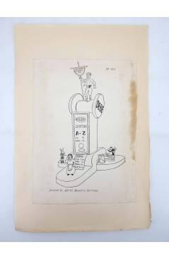 Contracubierta de DIBUJO ORIGINAL 34X22 CM FALLAS VALENCIA 1954 110. PINTOR S. ABRIL – MAESTRO SERRANO (No Acreditado) V