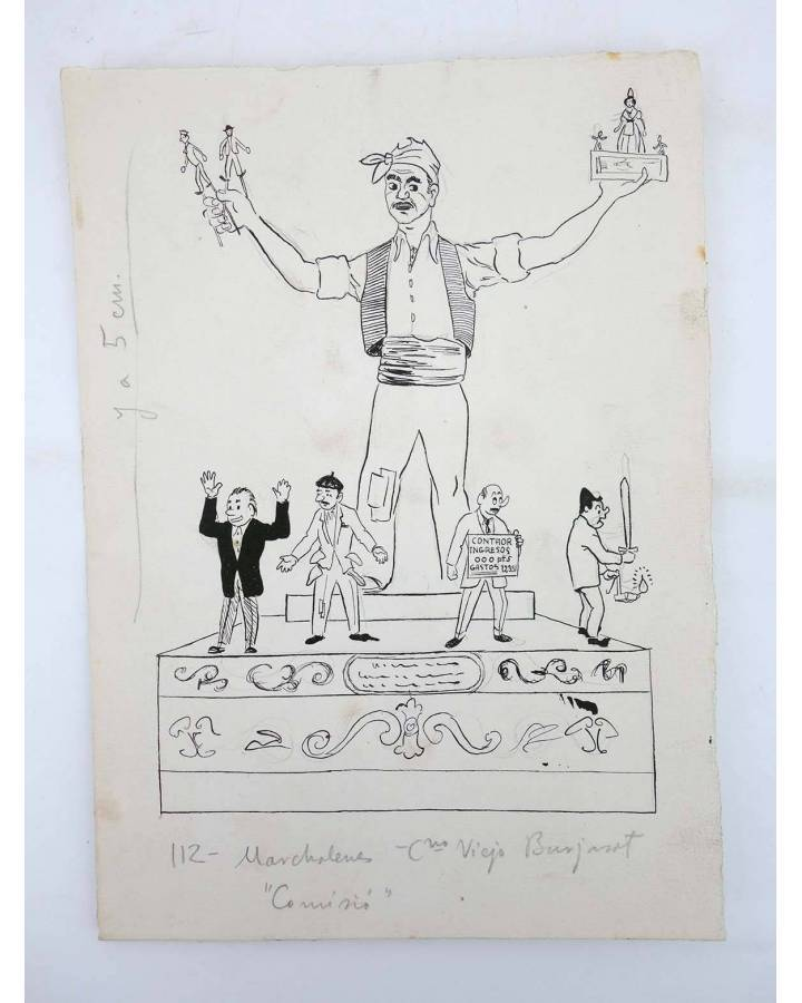 Cubierta de DIBUJO ORIGINAL 235X17 CM FALLAS VALENCIA 1954 112. MARCHALENES – CAMINO VIEJO BURJASSOT (No Acreditado) Val