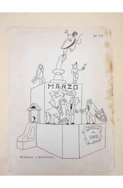 Cubierta de DIBUJO ORIGINAL 34X22 CM FALLAS VALENCIA 1954 113. VELÁZQUEZ Y ADYACENTES (No Acreditado) Valencia 1954
