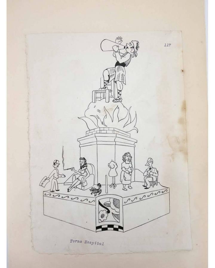 Cubierta de DIBUJO ORIGINAL 34X22 CM FALLAS VALENCIA 1954 117. TORNO HOSPITAL (No Acreditado) Valencia 1954