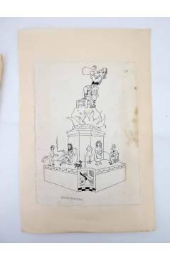 Contracubierta de DIBUJO ORIGINAL 34X22 CM FALLAS VALENCIA 1954 117. TORNO HOSPITAL (No Acreditado) Valencia 1954