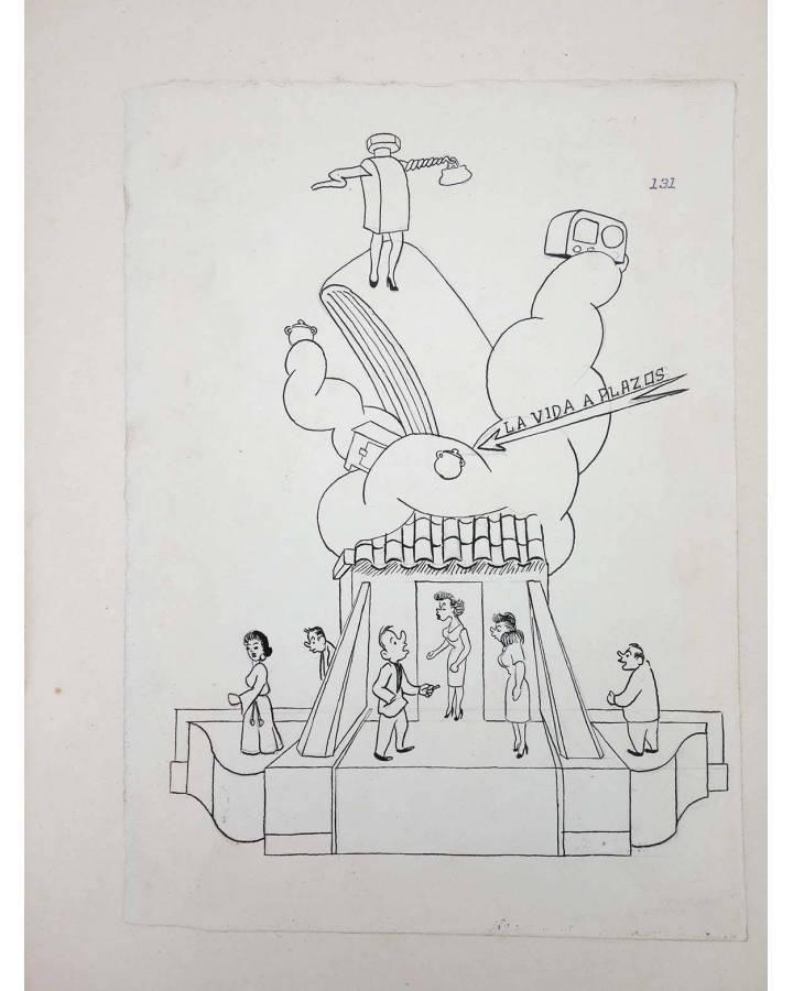 Cubierta de DIBUJO ORIGINAL 34X22 CM FALLAS VALENCIA 1954 131. SIN NOMBRE DE CALLE (No Acreditado) Valencia 1954