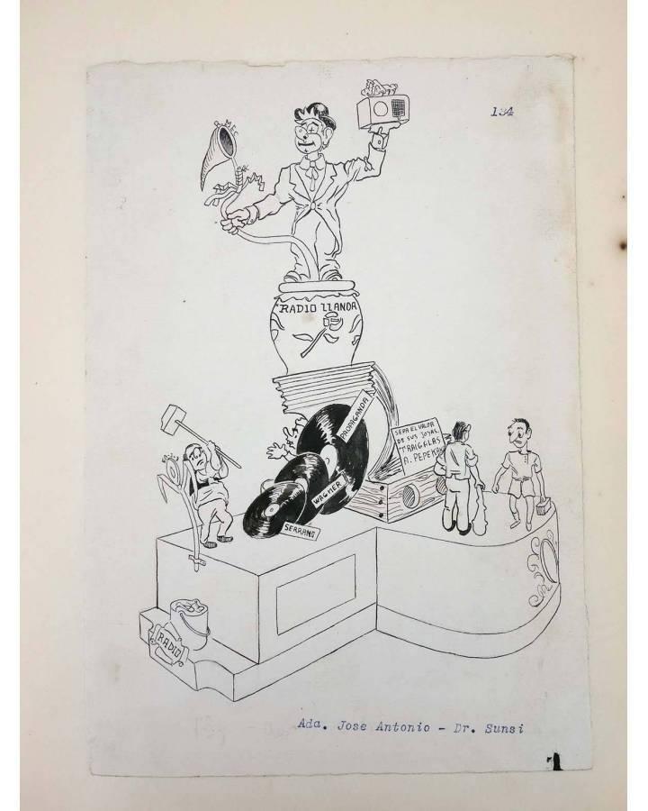 Cubierta de DIBUJO ORIGINAL 34X22 CM FALLAS VALENCIA 1954 134. AVDA JOSÉ ANTONIO – DR SUNSI. COLOR EN REVERSO (No Acredi