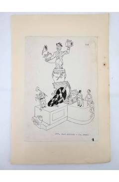 Contracubierta de DIBUJO ORIGINAL 34X22 CM FALLAS VALENCIA 1954 134. AVDA JOSÉ ANTONIO – DR SUNSI. COLOR EN REVERSO (No