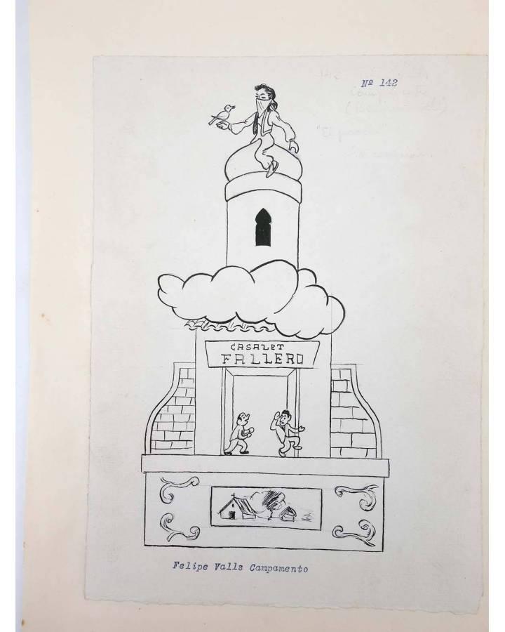 Cubierta de DIBUJO ORIGINAL 34X22 CM FALLAS VALENCIA 1954 142. FELIPE VALLS – CAMPAMENTO (No Acreditado) Valencia 1954