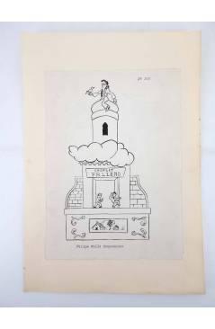 Contracubierta de DIBUJO ORIGINAL 34X22 CM FALLAS VALENCIA 1954 142. FELIPE VALLS – CAMPAMENTO (No Acreditado) Valencia