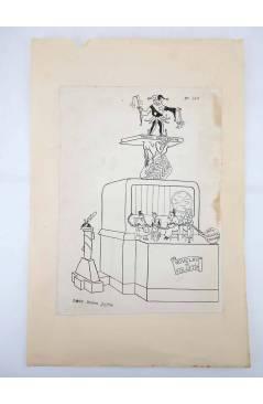 Contracubierta de DIBUJO ORIGINAL 34X22 CM FALLAS VALENCIA 1954 143. CANTE – PADRE JOFRE (No Acreditado) Valencia 1954