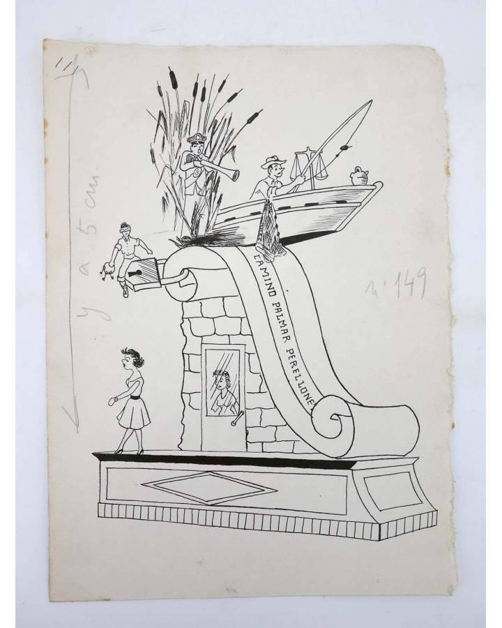 Cubierta de DIBUJO ORIGINAL 235X17 CM FALLAS VALENCIA 1954 149. CAMINO PALMAR – PERELLONET (No Acreditado) Valencia 1954