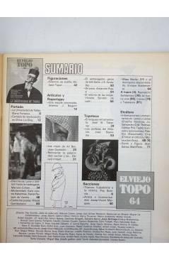 Contracubierta de EL VIEJO TOPO 64. REVISTA MENSUAL. ENERO 1982 (Vvaa) Ediciones 2001 1982