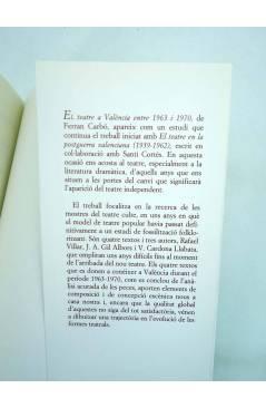 Contracubierta de EL TEATRE VALENCIÀ ENTRE 1963 I 1970 (Ferran Carbó) Universitat de Barcelona 2000