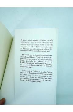 Contracubierta de APROXIMACIÓ AL TEATRE VALENCIÀ ACTUAL 1968-1998 (Ramón X. Rosselló) Universitat de Valencia 2000