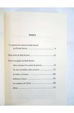 Contracubierta de OBRAS ESCOGIDAS 2 (Hadi Kurich) Universitat de Barcelona 2003