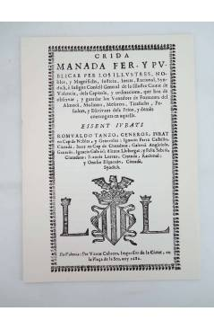 Contracubierta de DOCUMENTS HISTÓRICS VALENCIANS DEL SEGLE XVII. COMERÇ MESURES Y OFICIS (Vvaa) Ajuntament de Valencia 1