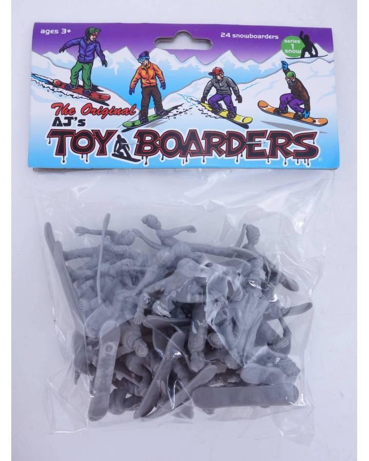 Cubierta de THE ORIGINAL AJ'S TOY BOARDERS. SNOW SERIES 1. BOLSA 24 SNOWBOARDERS. GRIS 2011. SNOWBOARD (No Acreditado) A
