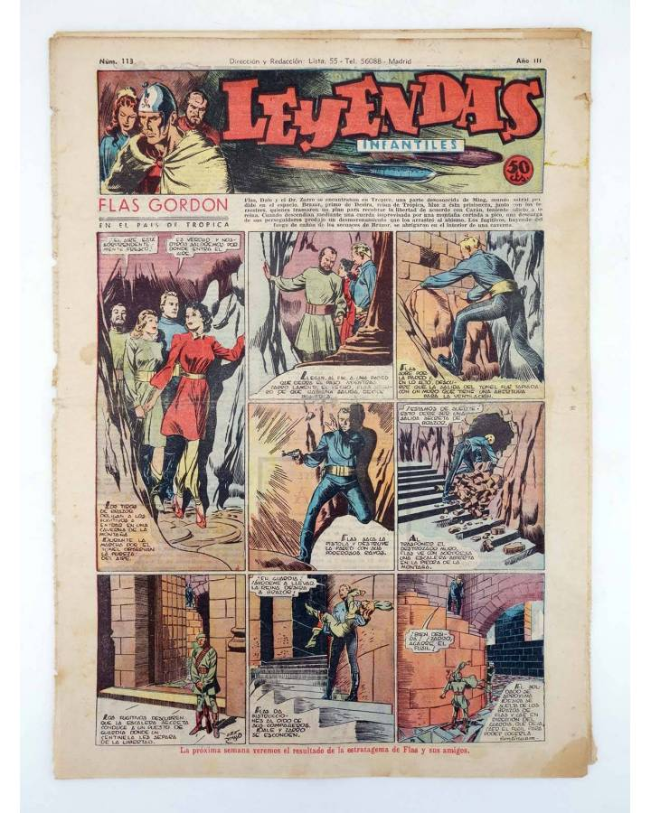 Cubierta de LEYENDAS INFANTILES. AÑO III N.º 113 (Vvaa) Semic Hispano Americana 1944