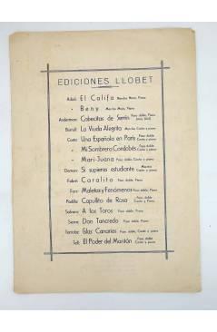Contracubierta de ISLAS CANARIAS. PASODOBLE (Juan Picot / J.Mª Tarridas) Llobet s/f