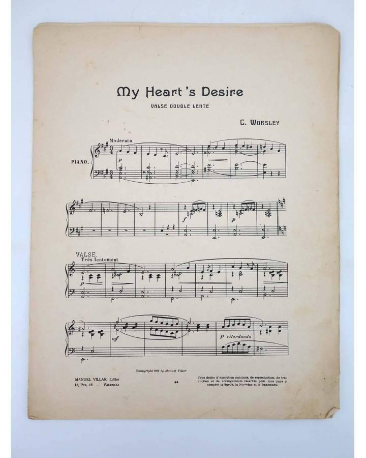 Cubierta de MY HEART'S DESIRE VALSE DOUBLE LENTE (C Worsley) Manuel Villar 1916