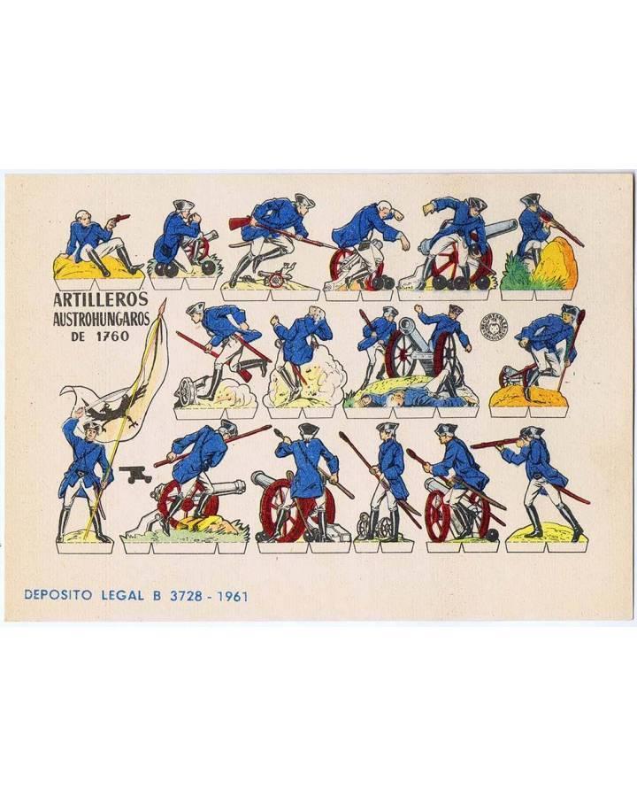 Cubierta de RECORTABLES MILITARES BRUGUERA. SERIE CAÑON. ARTILLEROS AUSTROHUNGAROS DE 1760 (No Acreditado) Bruguera 1961
