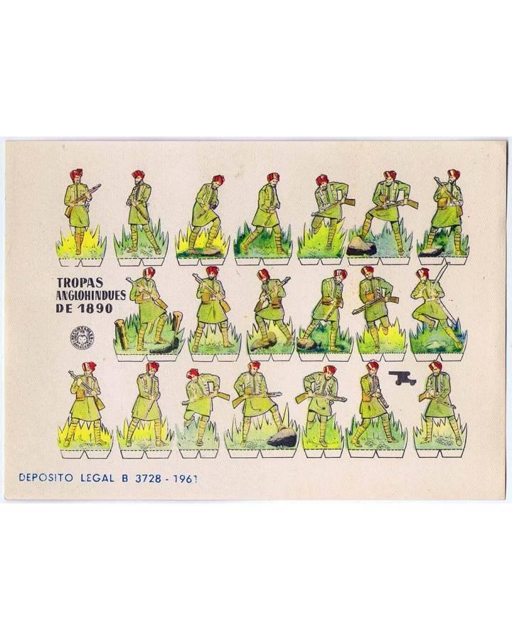 Cubierta de RECORTABLES MILITARES BRUGUERA. SERIE CAÑON. TROPAS ANGLOHINDUES DE 1890 (No Acreditado) Bruguera 1961