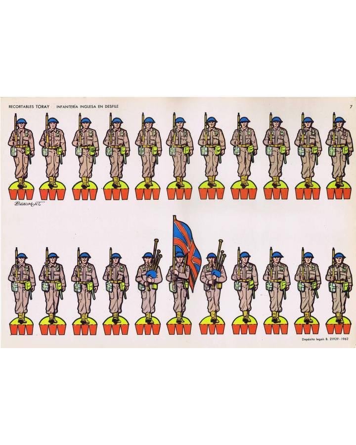 Cubierta de RECORTABLES TORAY GRUPO 1º SOLDADOS 7. INFANTERÍA INGLESA EN DESFILE (Beaumont) Toray 1962