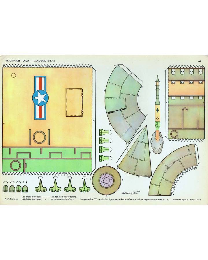 Cubierta de RECORTABLES TORAY GRUPO 5º COHETES Y ASTRONAVES 69. VANGUARD USA (Beaumont) Toray 1962
