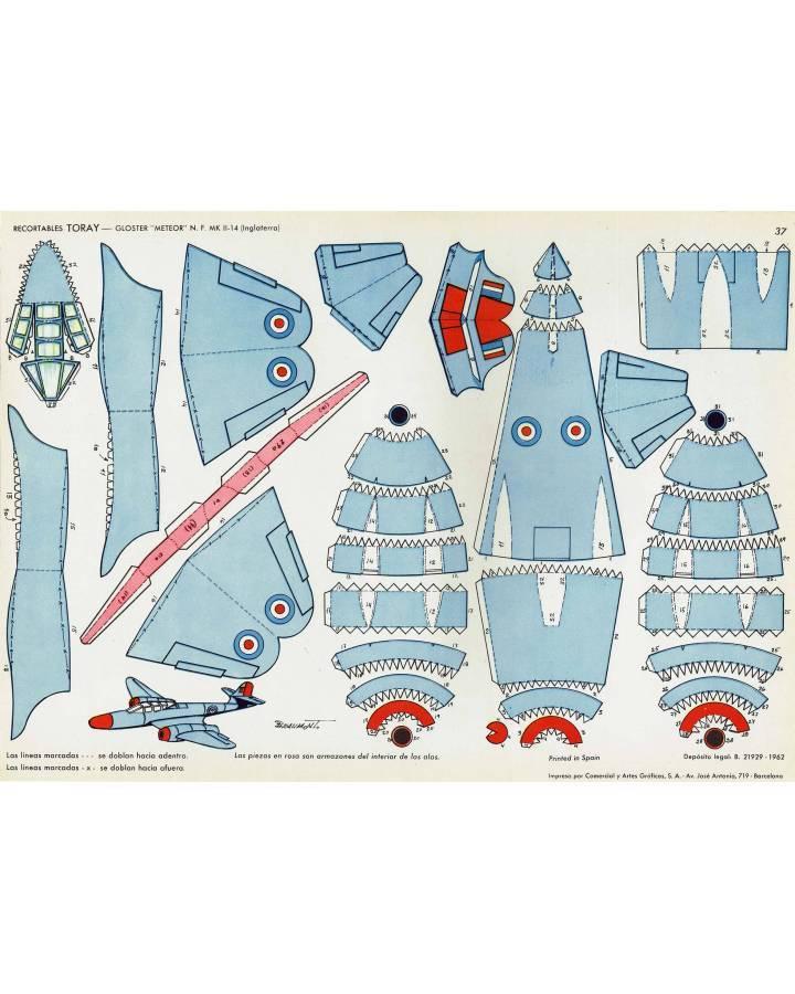 Cubierta de RECORTABLES TORAY GRUPO 3º AVIONES DE COMBATE 37. GLOSTER METEOR NF MK II-14 INGLATERRA (Beaumont) Toray 196