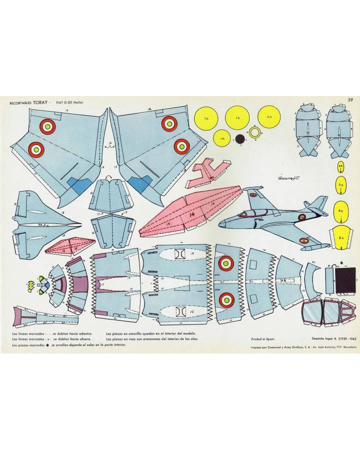 Cubierta de RECORTABLES TORAY GRUPO 3º AVIONES DE COMBATE 39. FIAT G-82 ITALIA (Beaumont) Toray 1962