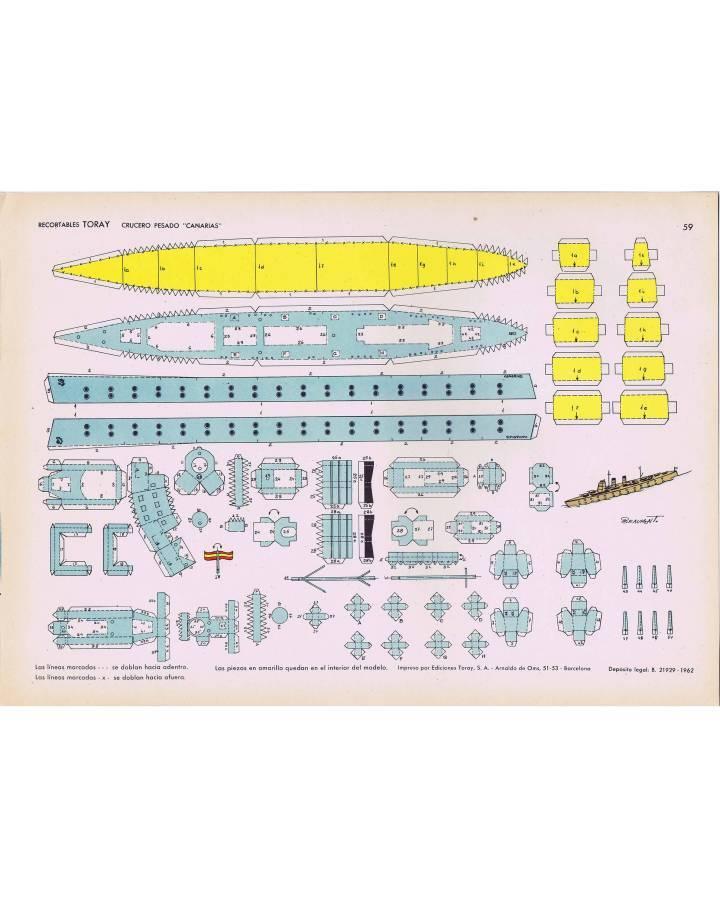 Cubierta de RECORTABLES TORAY GRUPO 15 BARCOS II 59. CRUCERO PESADO CANARIAS (Beaumont) Toray 1962