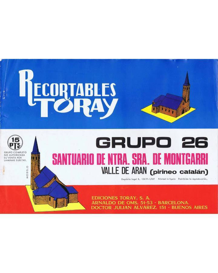Cubierta de RECORTABLES TORAY GRUPO 26 SANTUARIO DE NTRA SEÑORA DE MONTGARRI. 4 HOJAS (No Acreditado) Toray 1969