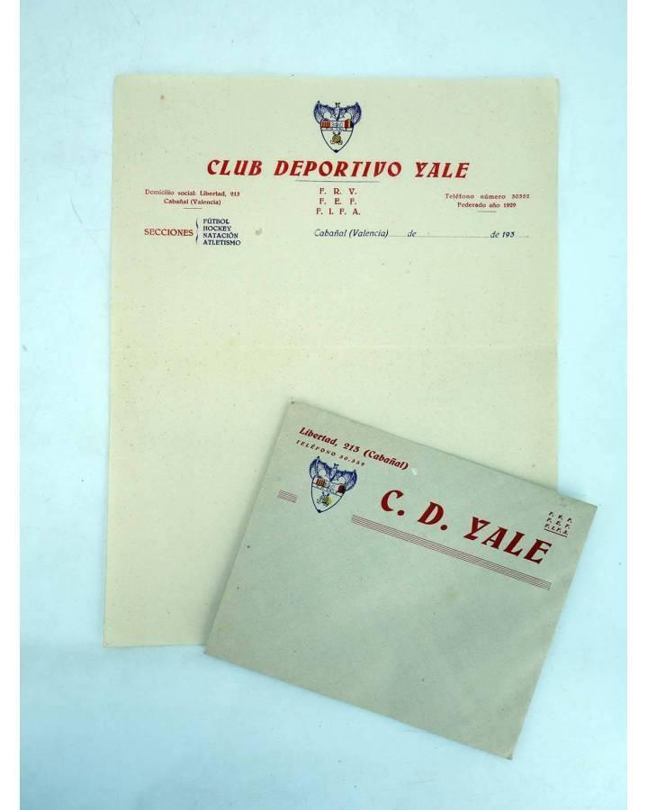 Cubierta de SOBRE Y HOJA CON MEMBRETE Y ESCUDO C.D. CD YALE CABAÑAL. AÑOS 30. FRV FEF FIFA (No Acreditado) CD Yale Cabañ