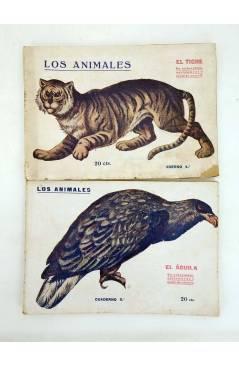 Contracubierta de LOS ANIMALES 4 5 7 8 9 14. LOTE DE 7. GATO MONTÉS ÁGUILA TIGRE OSO CANGURO… (Vvaa) Prensa Popular 1919