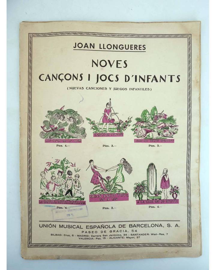 Cubierta de NOVES CANÇONS I JOCS D'INFANTS LA ROTLLI ROTLLI ROTLLANA (Joan Llongueres) Unión Musical española de Barcelo