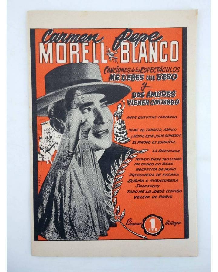 Cubierta de CANCIONERO CARMEN MORELL Y PEPE BLANCO. ME DEBES UN BESO (Carmen Morell / Pepe Blanco) Bistagne 1950