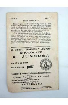 Contracubierta de CROMO CÉLEBRES ARTISTAS CINEMATOGRÁFICOS SERIE B N.º 7. ELSIE FERGUSON (No Acreditado) Chocolates E. J
