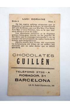 Contracubierta de FOTOCROMOS ARTISTAS DE CINE SERIE A N.º 4. LUCY DORAINE (No Acreditado) Chocolates Guillén 1930