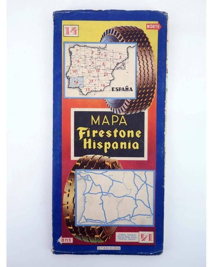 Cubierta de MAPA FIRESTONE HISPANIA 14. LISBOA SETUBAL EVORA BEJA FARO HUELVA SEVILLA. 3ª ED (No Acreditado) Firestone