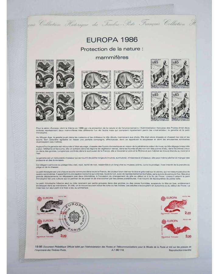 Cubierta de COLLECTION HISTORIQUE DE TIMBRE 18-86. EUROPE 1986. PROTECTION DE LA NATURE: MAMMIFÈRES 1986 (No Acreditado)
