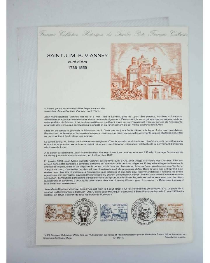 Cubierta de COLLECTION HISTORIQUE DE TIMBRE 19-86. SAINT J.M.B. VIANNEY 1786-1859 (No Acreditado) Poste Français 1986