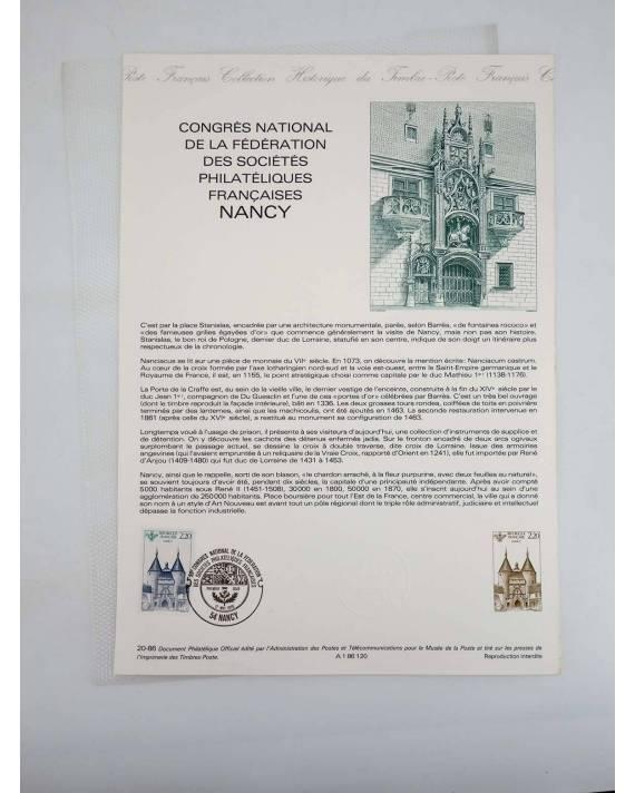 Cubierta de COLLECTION HISTORIQUE DE TIMBRE 20-86. CONGRES NATIONAL DE LA FEDERATION DES SOCIETES PHILATELIQUES (No Acre