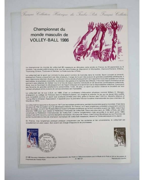 Cubierta de COLLECTION HISTORIQUE DE TIMBRE 21-86. VOLLEY BALL CHAMPIONNAT DU MONDE MASCULIN 1986 (No Acreditado) Poste