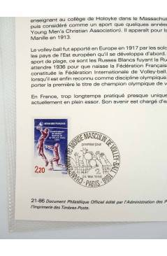 Contracubierta de COLLECTION HISTORIQUE DE TIMBRE 21-86. VOLLEY BALL CHAMPIONNAT DU MONDE MASCULIN 1986 (No Acreditado)