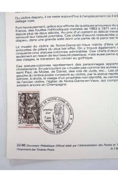 Contracubierta de COLLECTION HISTORIQUE DE TIMBRE 22-86. CLOÏTRE DE NOTRE DAME EN VAUX MARNE (No Acreditado) Poste Franç