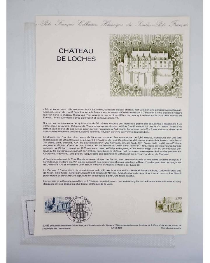 Cubierta de COLLECTION HISTORIQUE DE TIMBRE 23-86. CHATEAU DE LOCHES (No Acreditado) Poste Français 1986