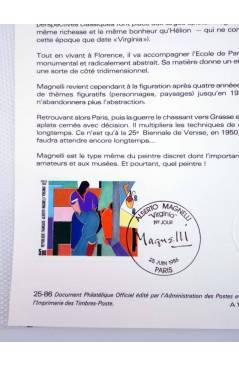 Contracubierta de COLLECTION HISTORIQUE DE TIMBRE 25-86. ALBERTO MAGNELLI VIRGINIA (No Acreditado) Poste Français 1986