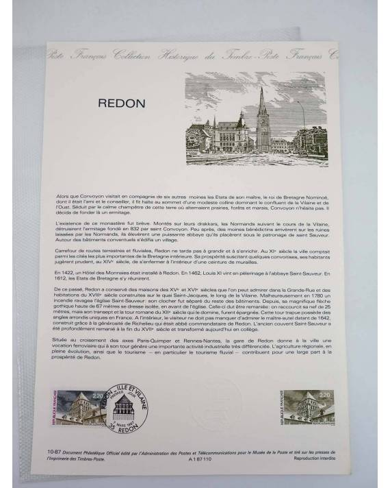 Cubierta de COLLECTION HISTORIQUE DE TIMBRE 32051. REDON (No Acreditado) Poste Français 1987