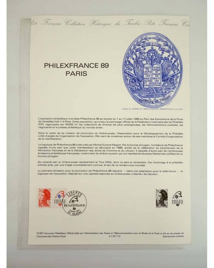 Cubierta de COLLECTION HISTORIQUE DE TIMBRE 32112. TP LIBERTE PHILEXFRANCE 89 PARIS (No Acreditado) Poste Français 1987